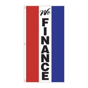 """Vertical Tricolor Flag - """"We Finance"""""""