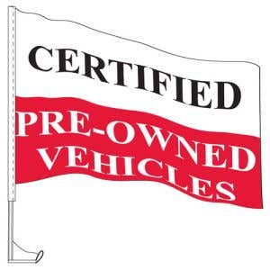 """Car Flag with Window Clip - """"Certified"""" Red"""
