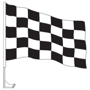 Car Flag with Window Clip - Checkered Black, White