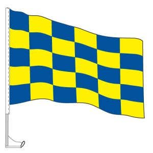 Car Flag with Window Clip - Checkered Blue, Yellow