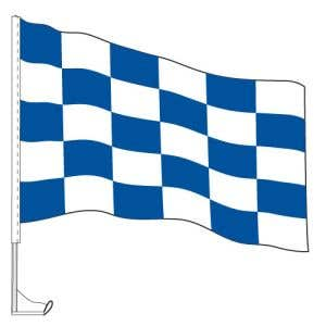 Car Flag with Window Clip - Checkered Blue, White