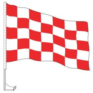 Car Flag with Window Clip - Checkered Red, White