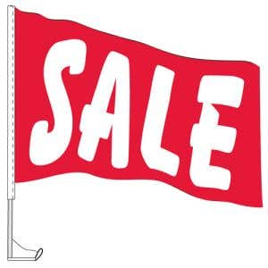"""Car Flag with Window Clip - """"Sale"""" Red"""