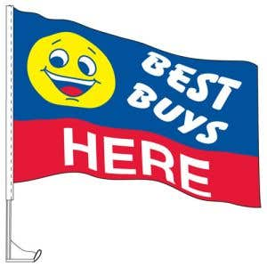"""Car Flag with Window Clip - """"Best Buys Here"""""""