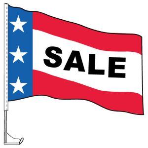 "Car Flag with Window Clip - ""Sale"" Patriotic"