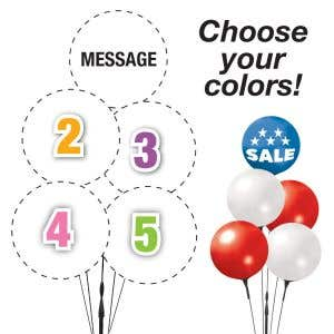 Pick Your Colors - 5 Reusable Balloon Printed Message Cluster