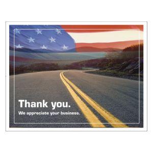 Laser Postcard - Flag and Road