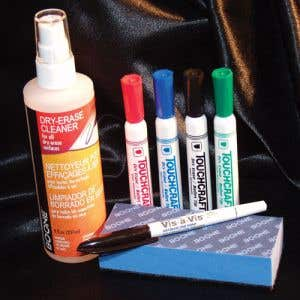 Kit includes 4 Dry Erase Markers, 1 Water Soluble Marker, 8 oz. Board Cleaner and a Eraser.