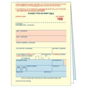 Vehicle Deal Label - 3 Part