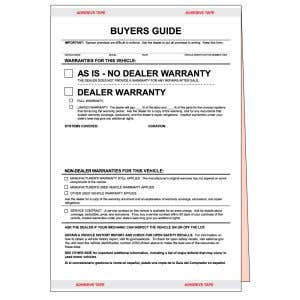 """""""As Is"""" Buyers Guide Form"""