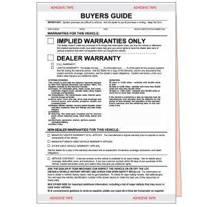 """Implied Warranties"" New York Buyers Guide Form"