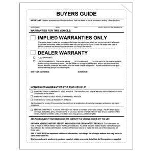 """""""Implied Warranties"""" Buyers Guide Laser Form"""