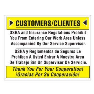 "Shop Wall Sign - ""OSHA"" English Spanish Combo"