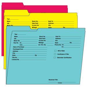 Vehicle Deal File Folders