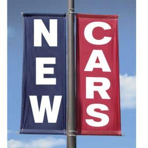 "Vinyl Pole Banner Set - ""New Cars"""