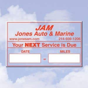 Personalized Oil Change Stickers - Style A - 1 Color