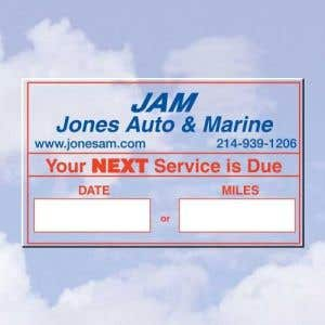 Personalized Oil Change Stickers - Style A - 2 Color
