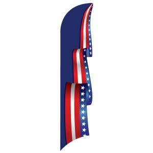 3D Wave Flag - Patriotic Scroll - Blue