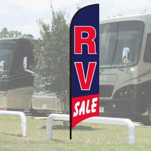 """Wave Flag Kits - """"RV Sale"""" Blue with Red Border"""
