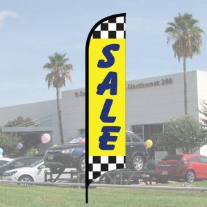 "Sales Wave Flag Kits - ""Sale"" Raceway Checkered Dark Blue on Yellow"