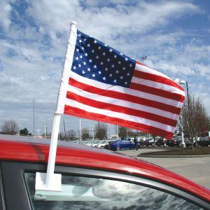 Car Flag with Window Clip - American Patriotic
