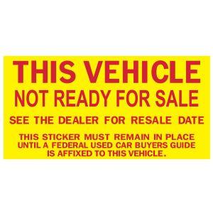 """""""Not Ready For Sale"""" Window Sticker"""