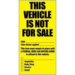 """""""Not For Sale"""" Window Sticker"""