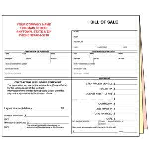 Bill of Sale Form with Personalization