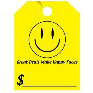 Fluorescent Mirror Hang Tag - Happy Face