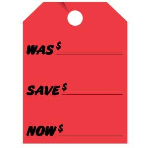 """Fluorescent Mirror Hang Tag - """"Was Save Now"""""""