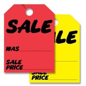 """Mirror Hang Tags - """"Sale, Was, Sale Price"""""""