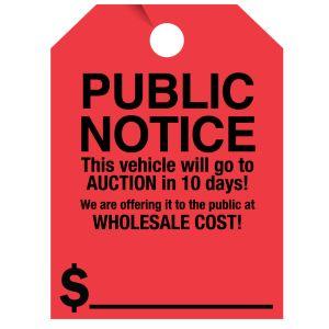 "Fluorescent Mirror Hang Tag - ""Public Notice"""
