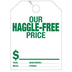 """Mirror Hang Tag - """"Haggle-Free Price"""""""