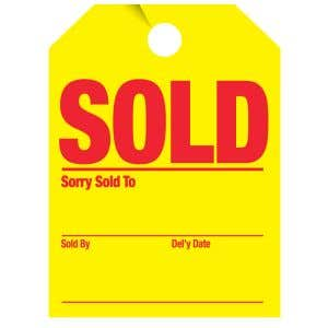 """Fluorescent Mirror Hang Tag - """"Sold, Delivery"""""""