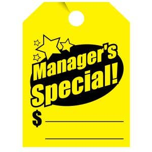"""Fluorescent Mirror Hang Tag - """"Manager's Special"""""""