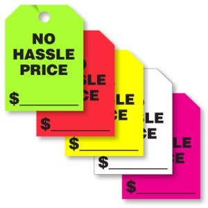 "Mirror Hang Tags - ""No Hassle Price"""