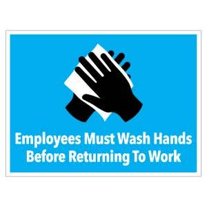 Self-Adhesive Wall Sign - Employees Wash Hands