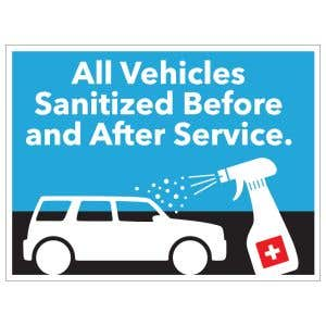 Self-Adhesive Wall Sign - All Vehicles Sanitized