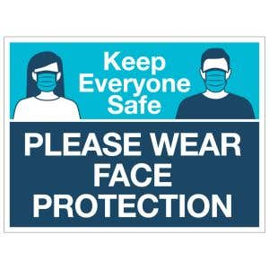 Self-Adhesive Wall Sign - Wear Face Protection