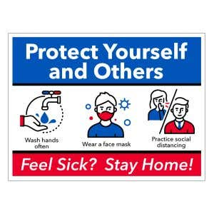 Self-Adhesive Wall Sign - Wear Mask/Social Distance