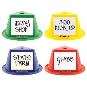Magnetic Car Top Hats with Dry Erase Panels