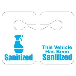 "Plastic Mirror Hang Tag - ""Sanitized"""