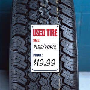 """Weather Resistant Tire Sticker - """"Used Tire"""""""