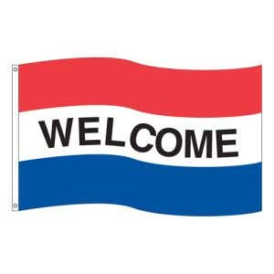 """Horizontal Tricolor Flag - """"Welcome"""""""