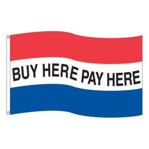 """Horizontal Tricolor Flag - """"Buy Here Pay Here"""""""