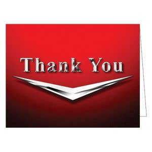 Thank You Card - Retro Chrome - Red
