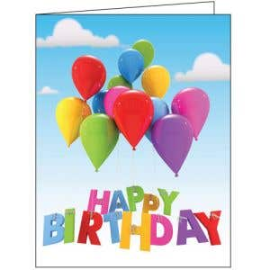 Happy Birthday Card - Rising Balloons