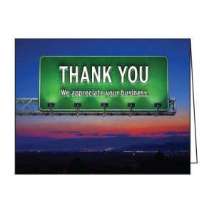 Thank You Card - Road Sign at Sunset