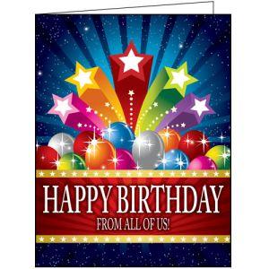 Happy Birthday Card - Stars and Balloons