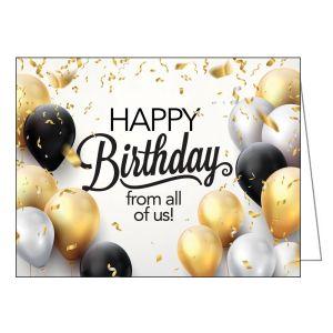 Happy Birthday Card - Balloons and Confetti
